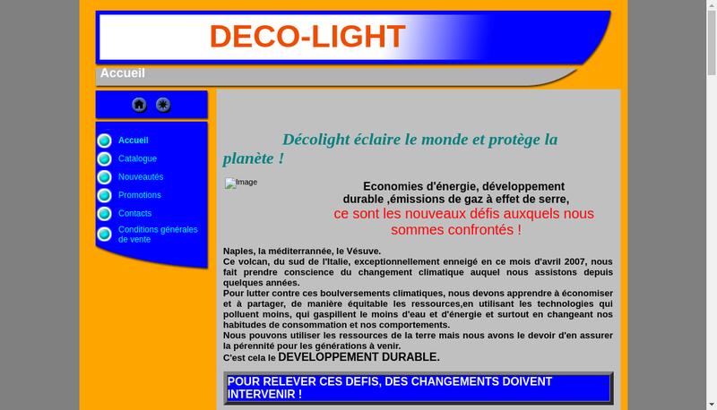 Capture d'écran du site de Deco-Light