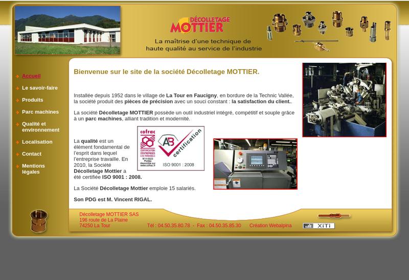 Capture d'écran du site de Decolletage Mottier