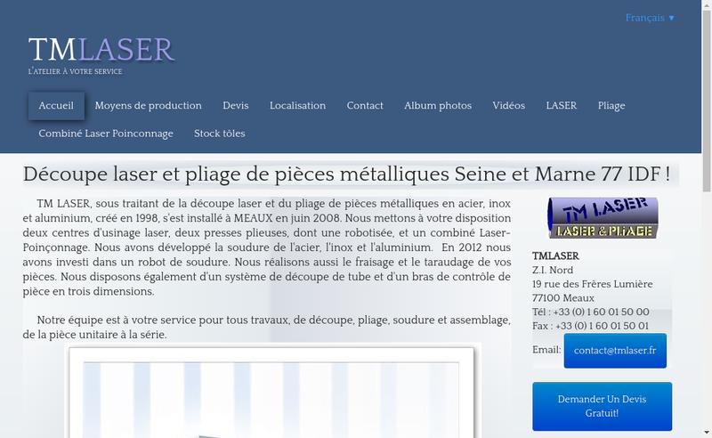 Capture d'écran du site de TM Laser