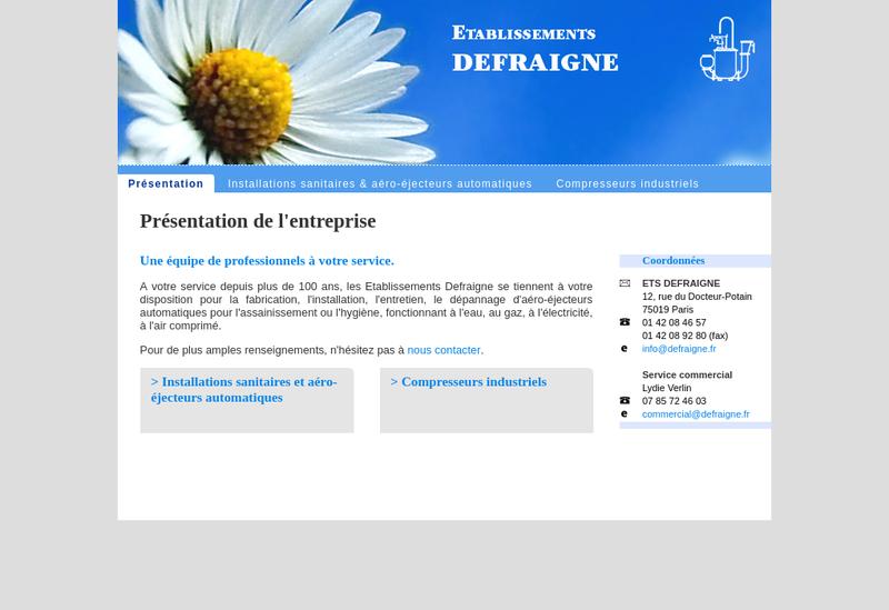 Capture d'écran du site de Etablissements Defraigne SA