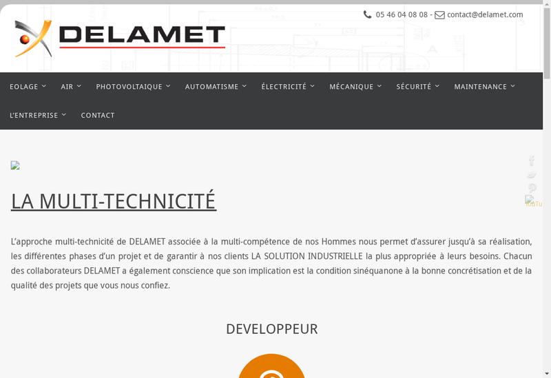 Capture d'écran du site de Delamet