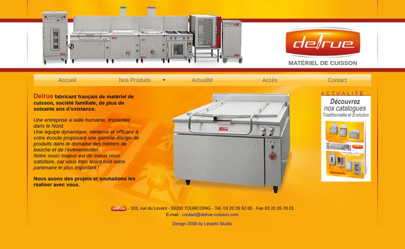 Capture d'écran du site de Materiel de Cuisson Delrue