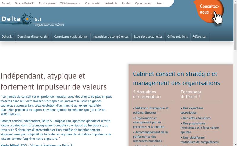 Capture d'écran du site de Delta SI