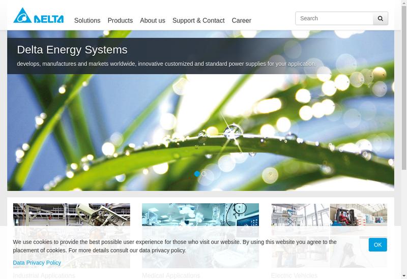 Capture d'écran du site de Delta Electronics France