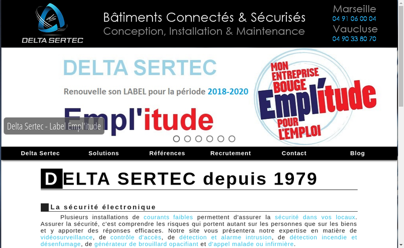 Capture d'écran du site de Delta Sertec