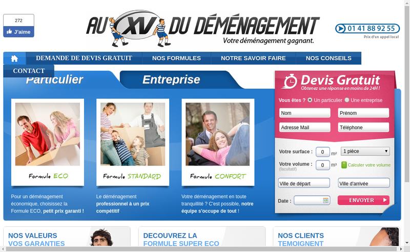 Capture d'écran du site de Au Xv du Demenagement Maindreville Demenagement aux Professionnels du Demenagement les Rugbymen Deme