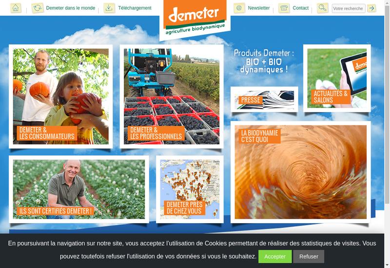 Capture d'écran du site de Assoc Demeter France