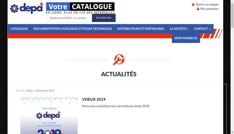 Capture d'écran du site de Depa International