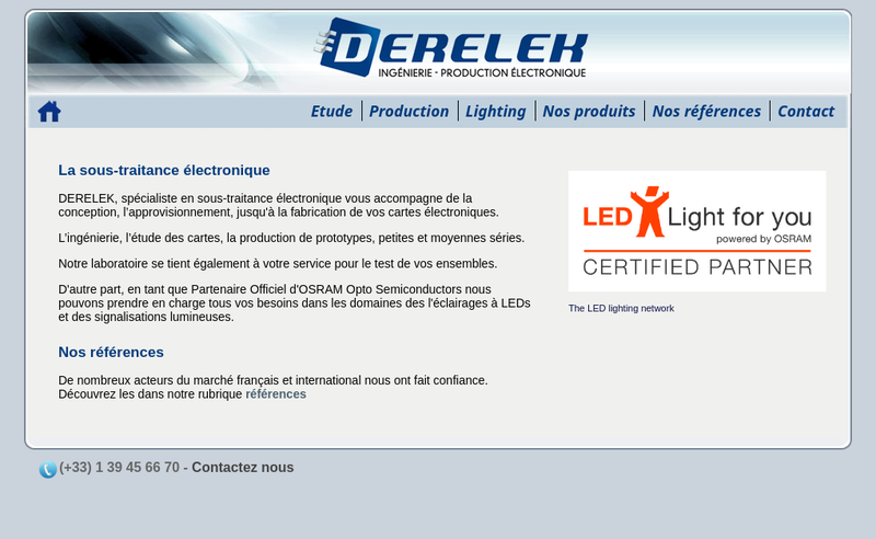 Capture d'écran du site de Derelek