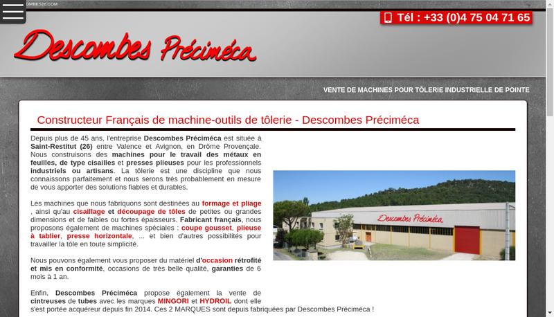 Capture d'écran du site de Descombes Precimeca