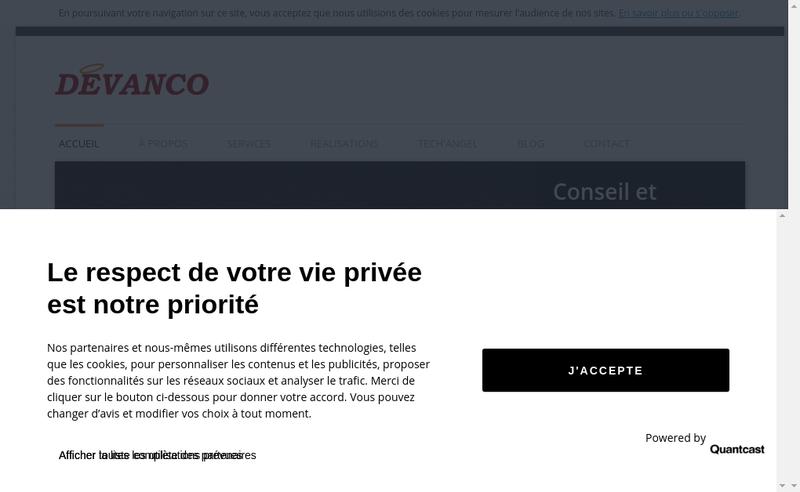 Capture d'écran du site de Devanco