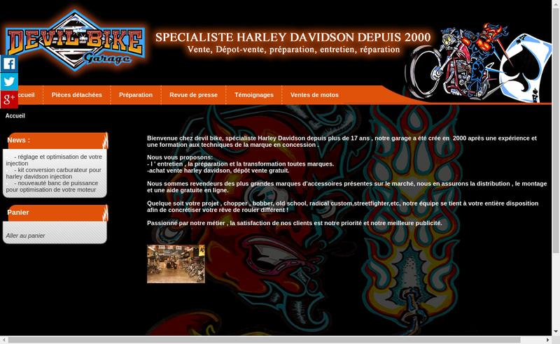 Capture d'écran du site de Devil Bike