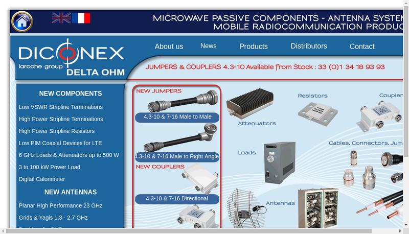 Capture d'écran du site de Diconex