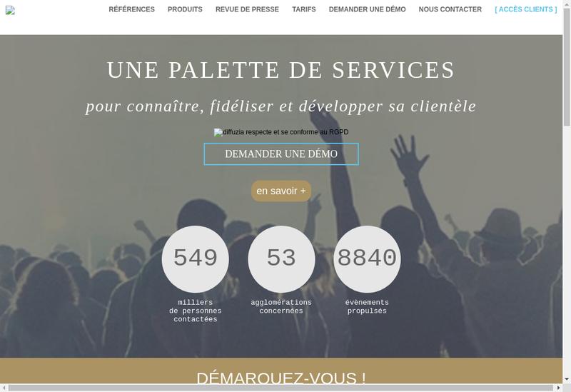 Capture d'écran du site de Diffuzia