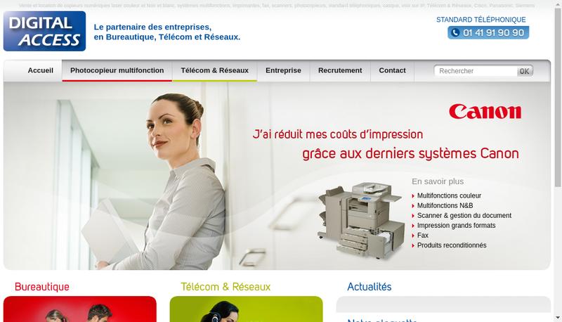 Capture d'écran du site de Digital Access