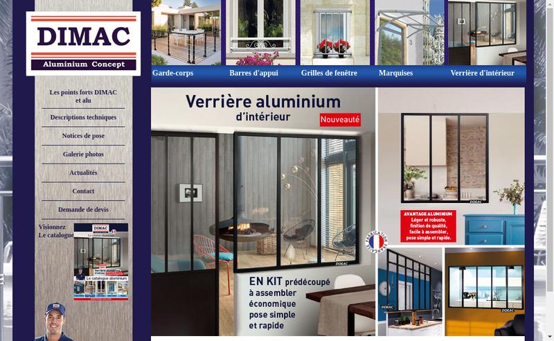 Capture d'écran du site de Dimac