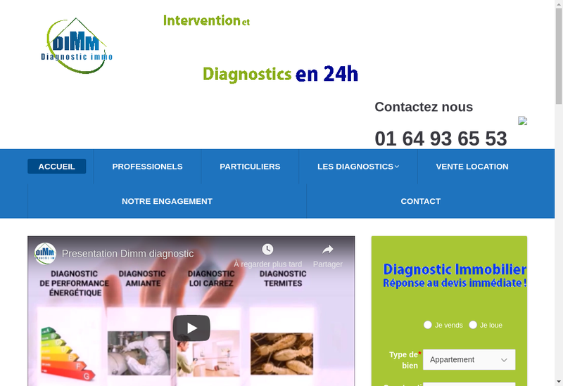 Capture d'écran du site de Dimm Diagnostic Immo