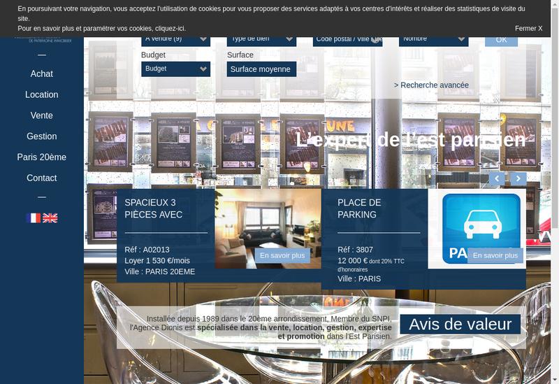 Capture d'écran du site de Agence Dionis