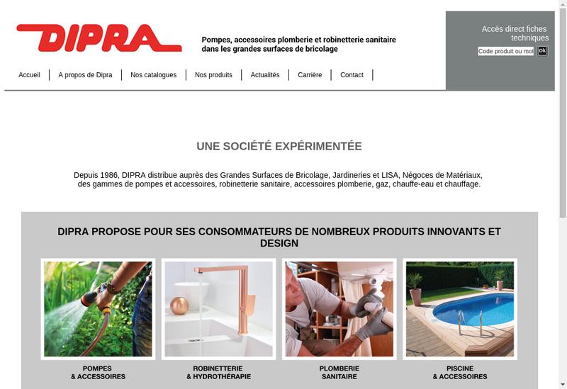 Capture d'écran du site de Dipra SA