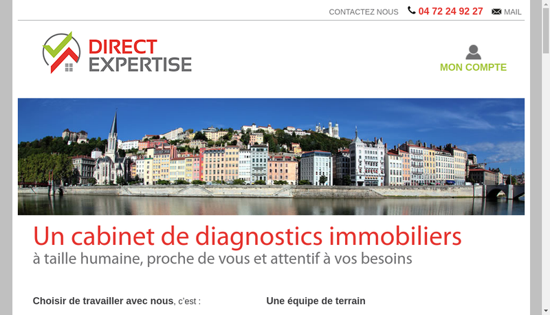 Capture d'écran du site de Direct Expertise