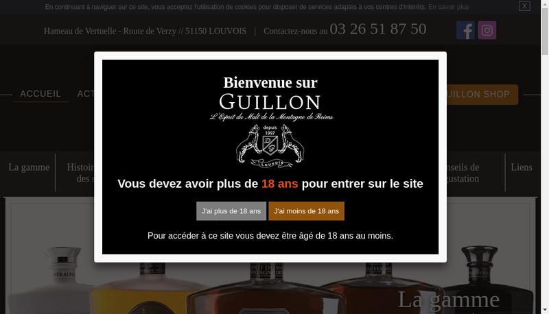 Capture d'écran du site de Distillerie Guillon