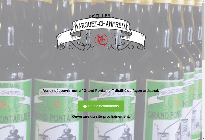 Capture d'écran du site de Distillerie Marguet Champreux