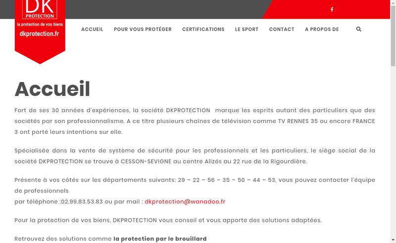 Capture d'écran du site de Dk Protection