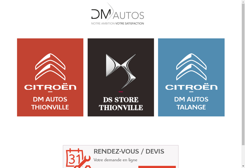 Capture d'écran du site de DM Autos