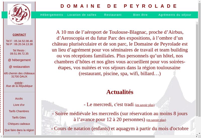 Capture d'écran du site de Domaine de Peyrolade