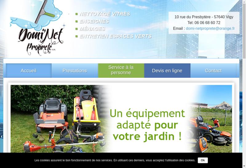Capture d'écran du site de Domi Net Proprete