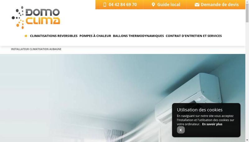 Capture d'écran du site de Domo Clima