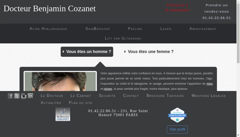 Capture d'écran du site de Benjamin Cozanet
