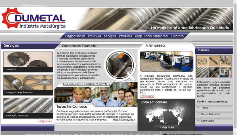 Capture d'écran du site de Dumetal