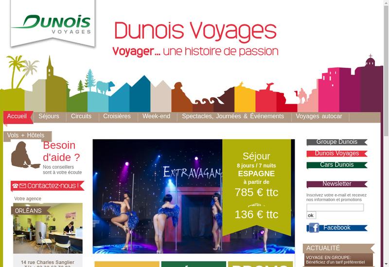 Capture d'écran du site de Dunois Voyages