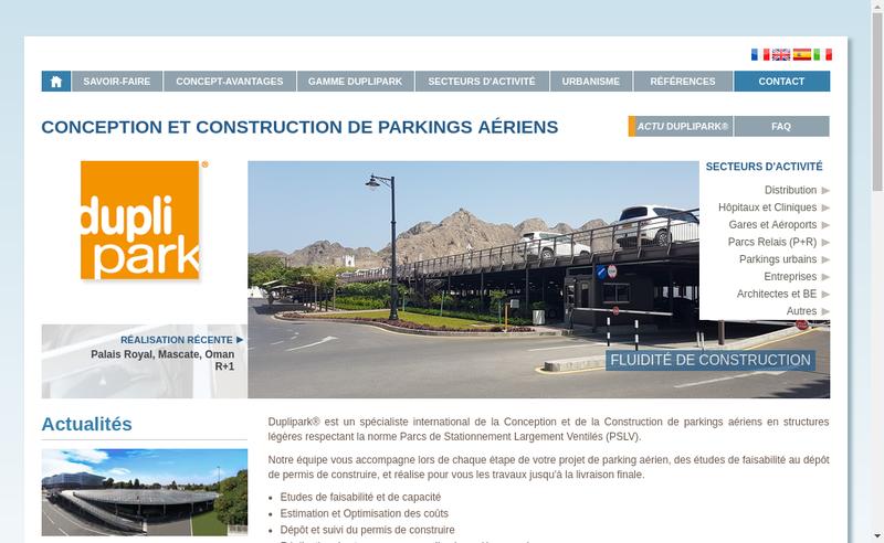 Capture d'écran du site de Duplipark France