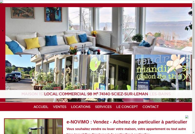 Capture d'écran du site de E-Novimo