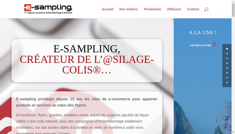 Capture d'écran du site de E Sampling
