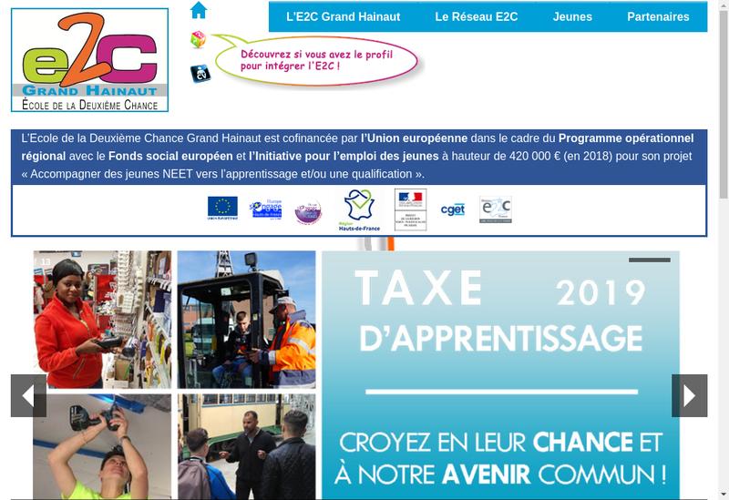 Capture d'écran du site de Ecole de la 2Eme Chance Grand Hainaut