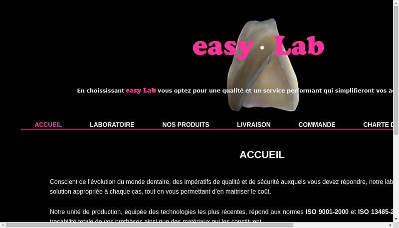 Capture d'écran du site de Easy Lab