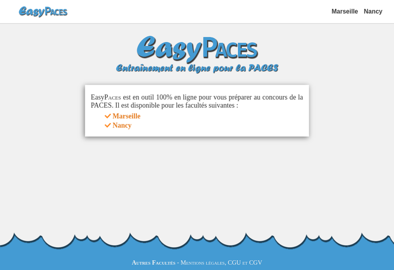 Capture d'écran du site de Easypaces