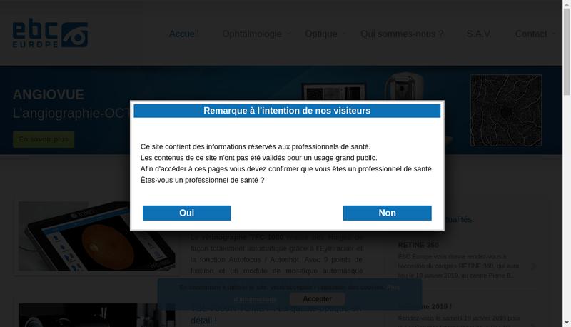 Capture d'écran du site de Ebc Europe