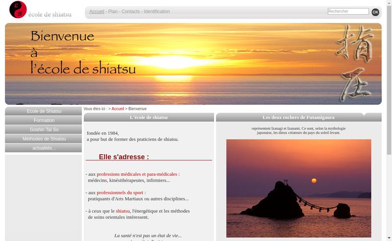 Capture d'écran du site de Ecole de Shiatsu