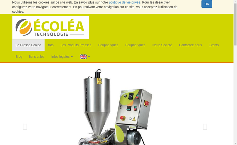 Capture d'écran du site de Ecolea Technologie