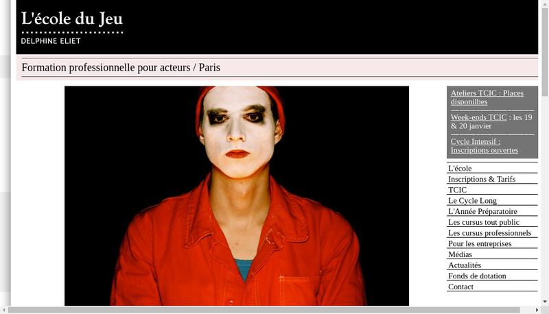 Capture d'écran du site de L'Ecole du Jeu Delphine Eliet