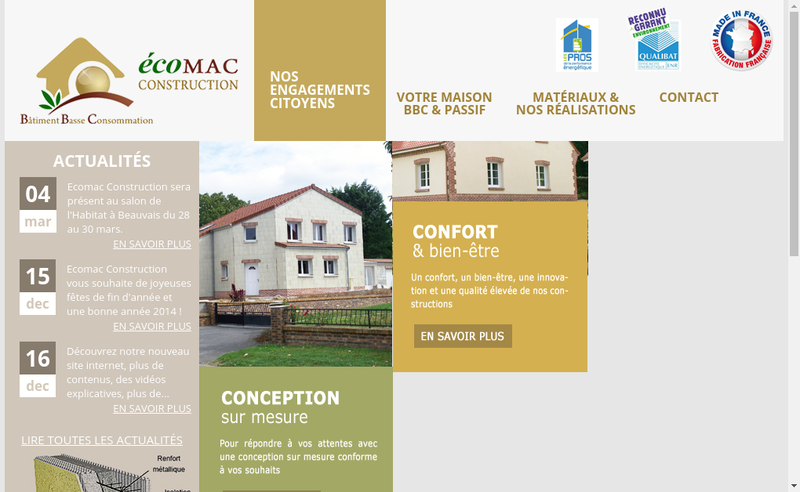 Capture d'écran du site de Ecomac Construction