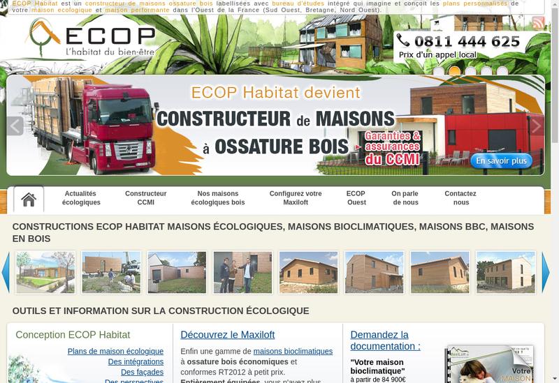 Capture d'écran du site de Maisons Bebium