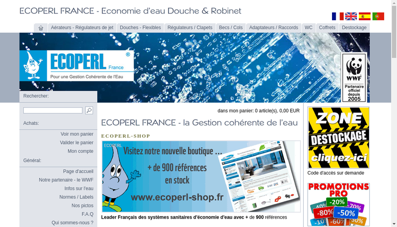 Capture d'écran du site de Ecoperl France