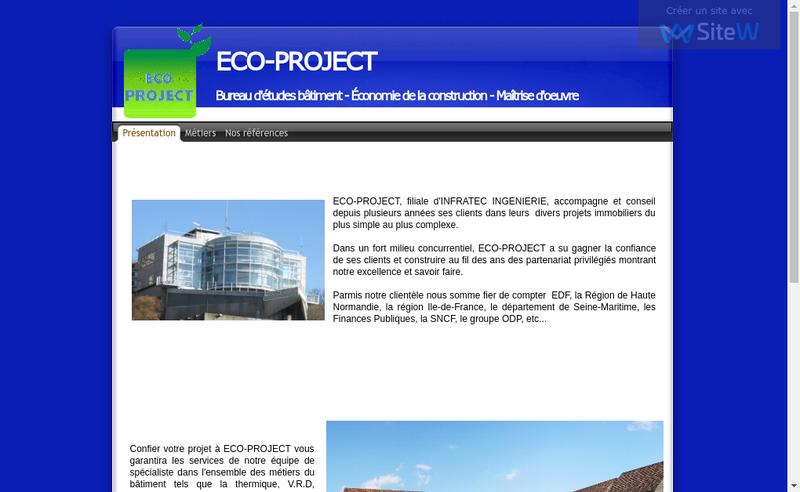 Capture d'écran du site de Eco Project