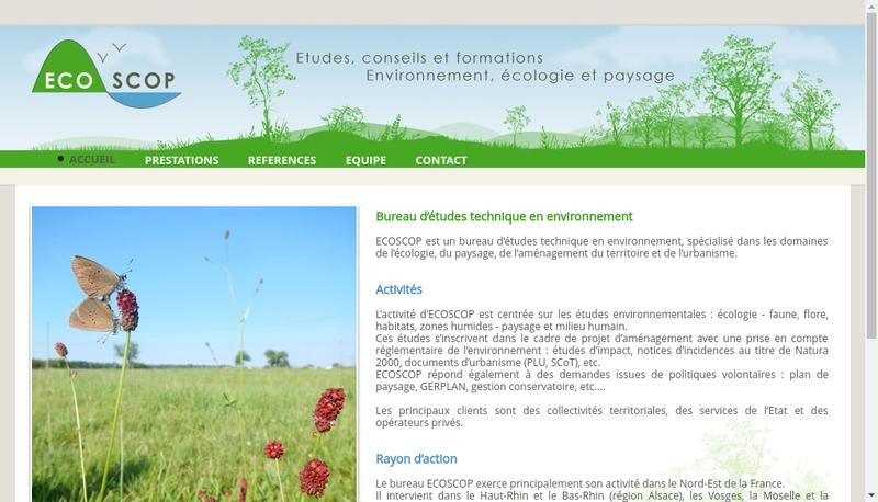 Capture d'écran du site de Ecoscop