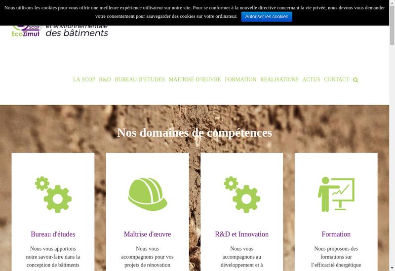 Capture d'écran du site de SCOP Ecozimut